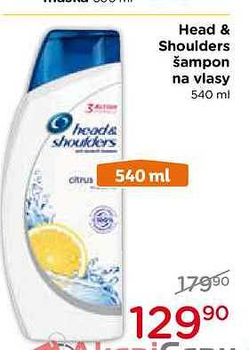 Head shoulders šampon 540Ml, vybrané druhy Top drogerie