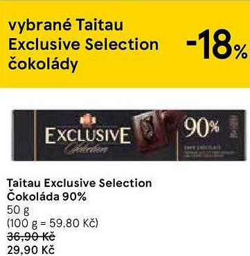 Taitau exclusive selection čokoláda extra hořká 90%, Tesco